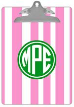 Pink Stripe with Green Monogram Monogram Clipboard