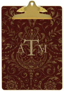 Personalized Burgundy Damask Clipboard