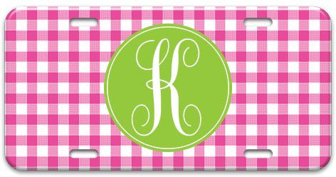 Personalized Gingham License Plate