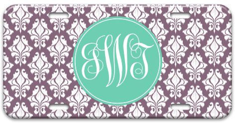 Personalized Ikat Damask License Plate