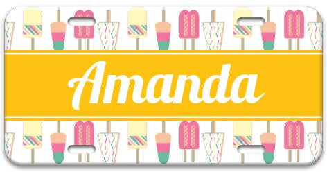 Personalized Popsicle Party License Plate