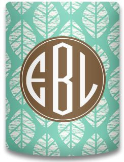 Personalized Woodcut Leaves Koozie