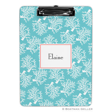 Coral Repeat Teal Clipboard