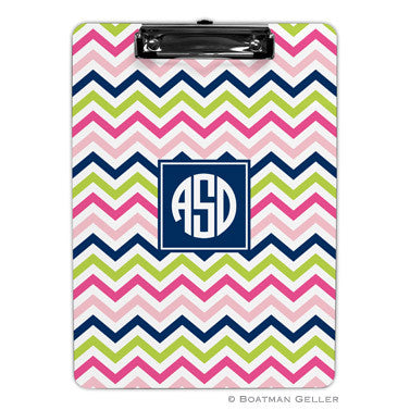 Chevron Pink, Navy, & Lime Clipboard