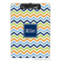 Chevron Blue, Orange, & Lime Clipboard