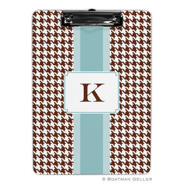 Alex Houndstooth Chocolate Clipboard