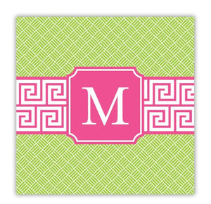 Greek Key Band Pink Coaster