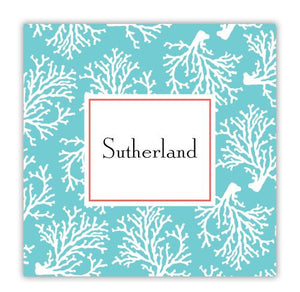 Coral Repeat Teal Coaster