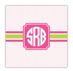 Seersucker Band Pink and Green Coaster