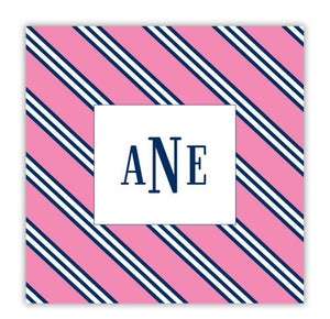 Repp Tie Pink and Navy Coaster