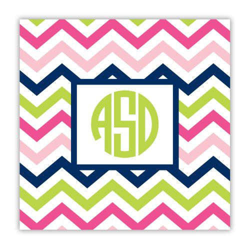 Chevron Pink, Navy, and Lime Coaster
