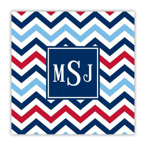 Chevron Blue and Red Coaster