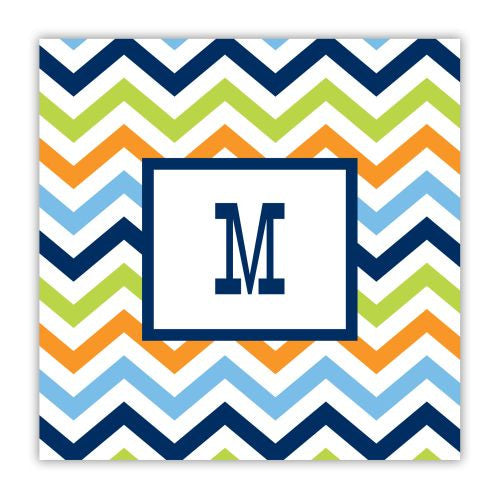Chevron Blue, Orange, and Lime Coaster