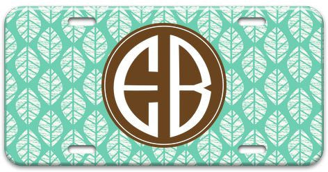 Personalized Woodcut Leaves License Plate