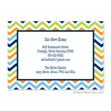 Chevron Blue, Orange & Lime Flat Notecard