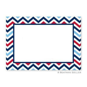Chevron Blue & Red Flat Notecard