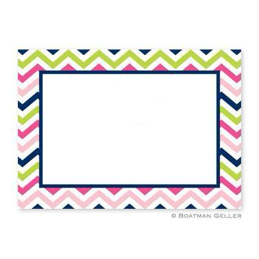 Chevron Pink, Navy & Lime Flat Notecard