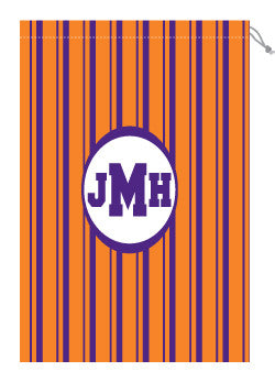 Monogrammed Orange & Purple Striped Laundry Bag