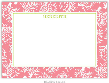 Coral Repeat Melon Flat Notecard