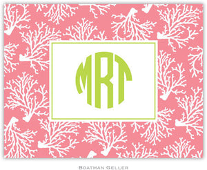 Coral Repeat Melon Foldover Note
