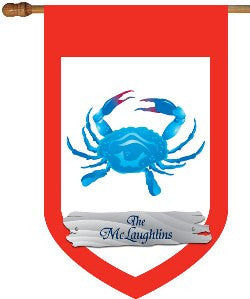 Monogrammed Blue Crab House Flag