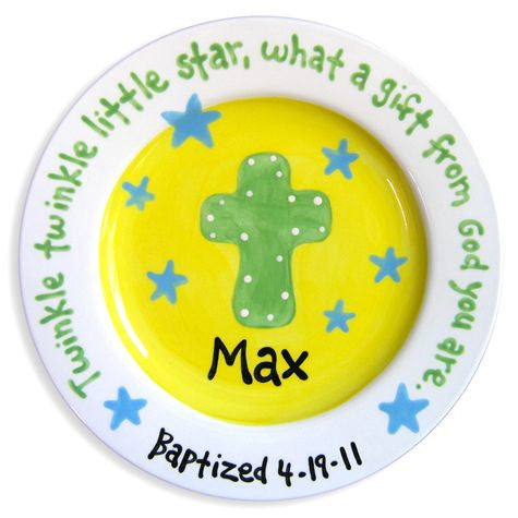 Personalized Cross and Stars Plate (Boy)