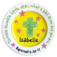 Personalized Cross and Stars Plate (Girl)