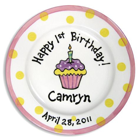 Personalized 1st Birthday Cupcake Plate (Girl)