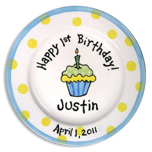 Personalized 1st Birthday Cupcake Plate (Boy)