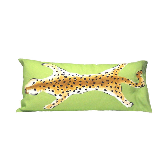 Leopard Lumbar Pillow in Green