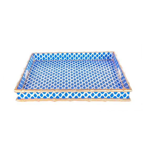 Bamboo Tray in Navy Parsi