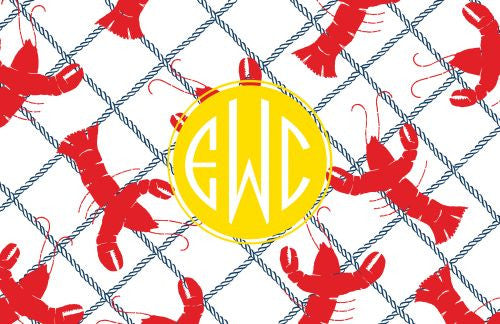 Monogrammed Rock Lobster Laminated Placemat