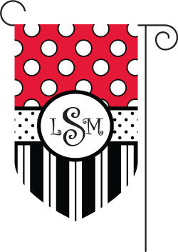 Monogrammed Red & Black Garden Flag