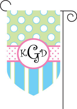 Monogrammed Blue & Green Garden Flag