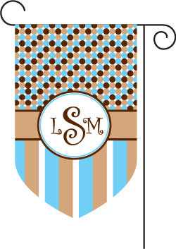 Monogrammed Blue & Brown Garden Flag