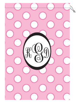 Monogrammed Pink & White Polka Dot Laundry Bag