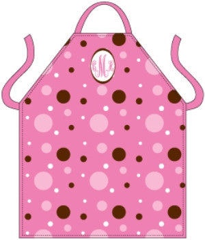 Monogrammed Pink Dots Apron