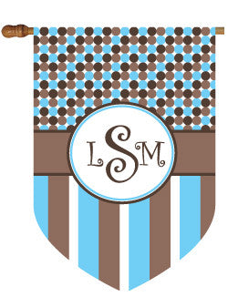 Monogrammed Dots & Stripes House Flag