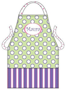 Monogrammed Purple & Pink Dots Kids Apron