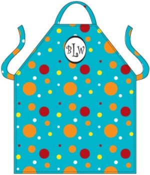 Monogrammed Teal Dots Apron