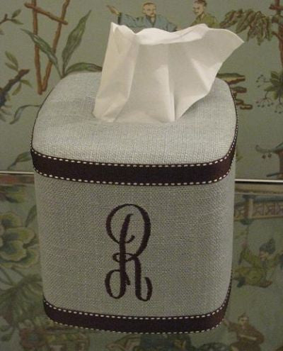 Monogrammed Pale Blue Linen Tissue Box Cover