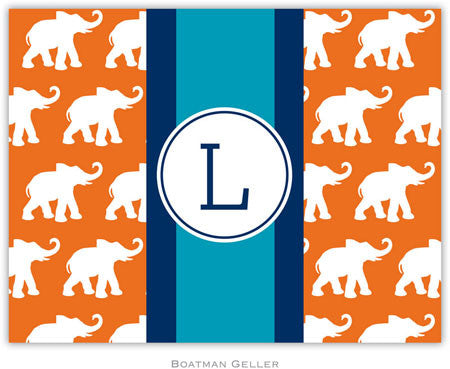 Elephants Ribbon in Orange Foldover Note