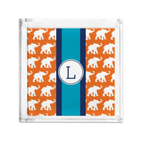 Boatman Geller Elephants Ribbon in Orange Petite Lucite Tray