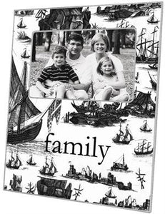 Black Boat Toile Picture Frame