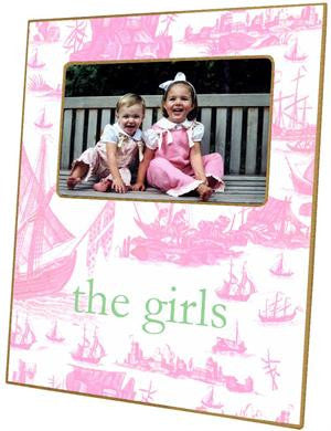 Pale Pink Toile Boat Picture Frame