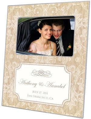 Beige Damask with Inset Picture Frame