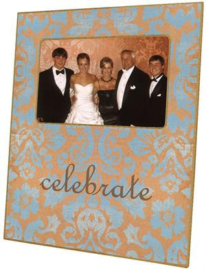 Copper & Blue Damask Picture Frame