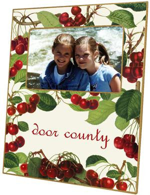 Cherries on White Picture Frame