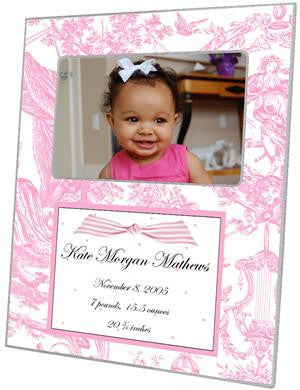 Pink Toile with Dots Birth Announcement Picture Frame