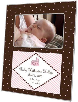 Brown & Pink Dots Picture Frame